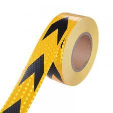 Лента светоотражающая самоклеящаяся желто-черная в рулоне