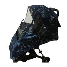 Дождевик с окошком на прогулочную коляску темно-синий