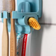 Держатель зубных щеток и пресс для зубной пасты 2 в 1 голубой