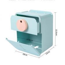 Диспенсер туалетной бумаги с полкой для телефона и ящичком голубой