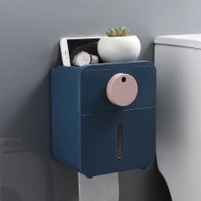 Диспенсер туалетной бумаги с полкой для телефона и лотком синий